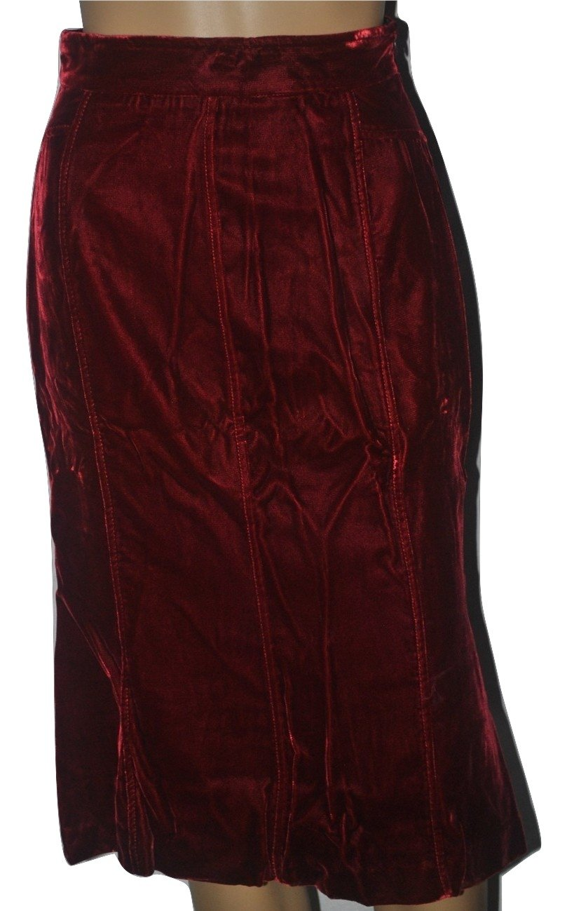 Dolce & Gabbana Women's Red Velvet A-line Skirt (38 IT) US 2