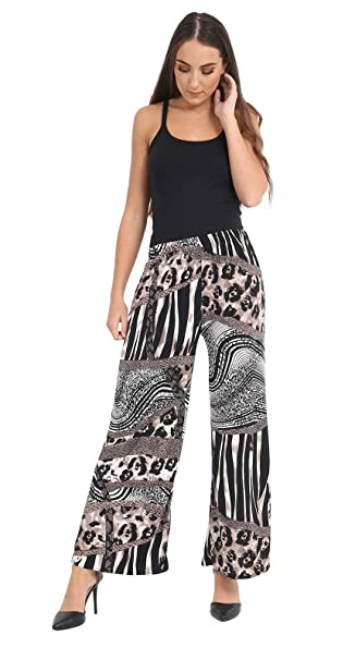 5846150db5d06 Candid Styles Womens Multi Printed Plus Size Baggy Wide Leg Palazzo Trouser  Leggings Pants 16-26  Amazon.co.uk  Clothing
