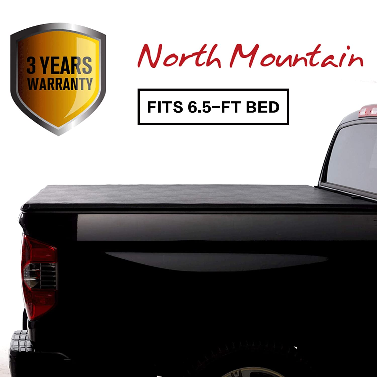 North Mountain Soft Vinyl Roll-up Tonneau Cover, Fit Chevy Silverado/GMC Sierra 14-18 1500 15-18 2500/3500 HD Pickup 6.5ft Fleetside Bed, Clamp On No Drill Top Mount Assembly w/Rails+Mounting Hardware