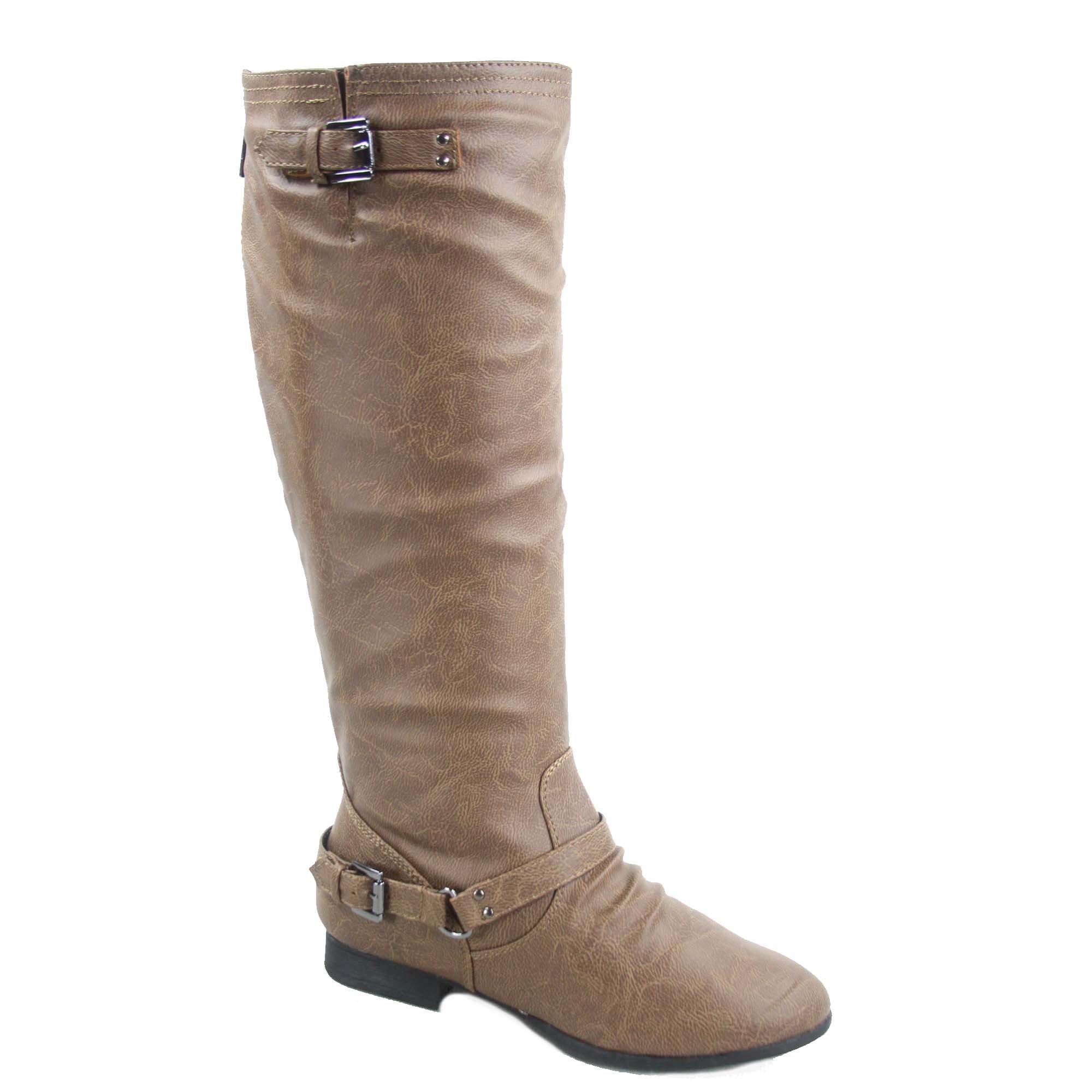 Top Moda Coco-1 Women's Fashion Military Low Heel Buckle Zipper Riding Knee High Boot Shoes (7, Conac)