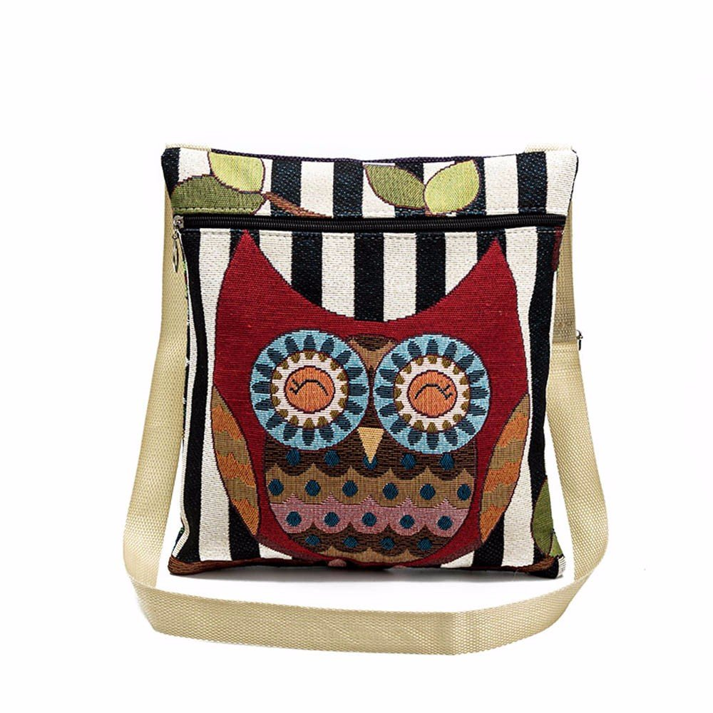 Women Shoulder Bags, Hmlai 2018 New Embroidered Owl Tote Bags Women Shoulder Bag Handbags Postman Package (E)