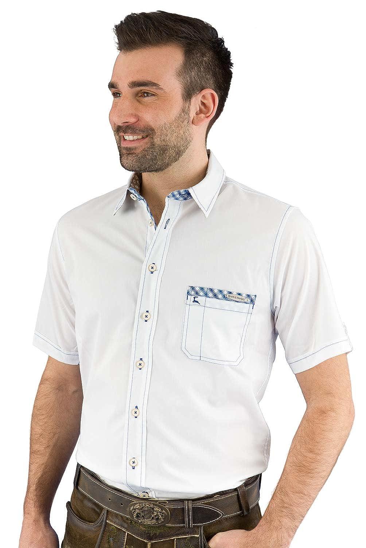 Spieth & Wensky Trachtenhemd Herren kurzarm Bert-He KA weiß/d-blau