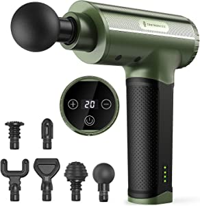Massage Gun, TaoTronics Portable Deep Tissue Percussion Massager with 6 Heads and 20 Adjustable Speeds for Pain Relief and Relaxation, Muscle Massager with 10 Hours Battery Life for Home Office Gym