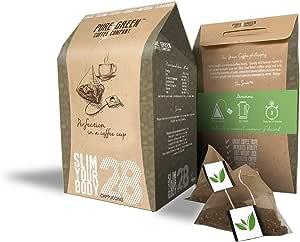 Pure Green Skinny Coffee - Programa de detoxificación-28 días. Ayuda con pérdida de peso y quema de grasa. Supresor natural de apetito. Resultados visibles rápidos. Bebida energética antes de entrenar