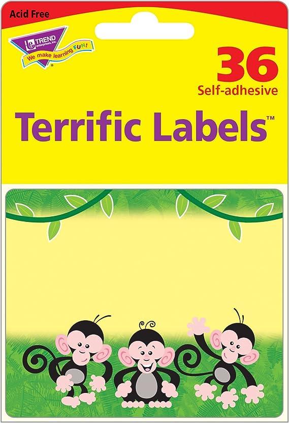 Amazon Com Trend Enterprises Inc Monkey Mischief Terrific Labels 36 Ct Flash Cards Office Products