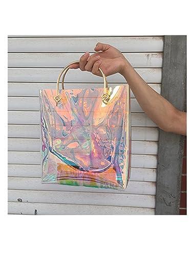 7760539739 Amazon.com  Susie Zechariah New Summer Hologram Women Bags Handbags Women  Famous Brands Metal Handle Tote Bag Transprent Open Shopper Bag Beach Bag  Army ...