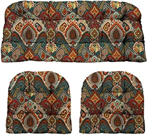 RSH Décor - Indoor / Outdoor 3- Piece Tufted Wicker Cushion Set Made with Bohemian Retro Paisley Fabric