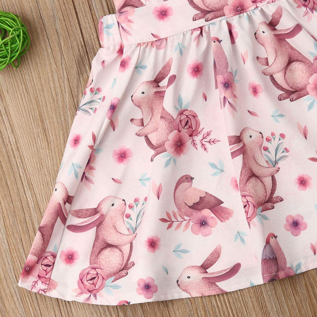 Baby Kids Girls Rabbit Print Ruffle Sleeveless Swing Dress Sundress