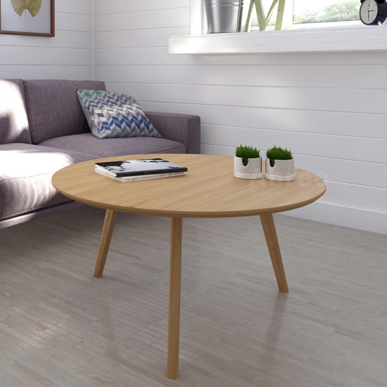 Scandinavian Retro Round Coffee Table With Solid Oak Legs Oak
