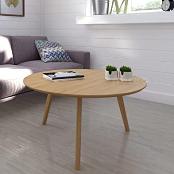 Abreo Scandinavian Retro Round Coffee Table Solid Oak Legs (Oak Round  Coffee Table)