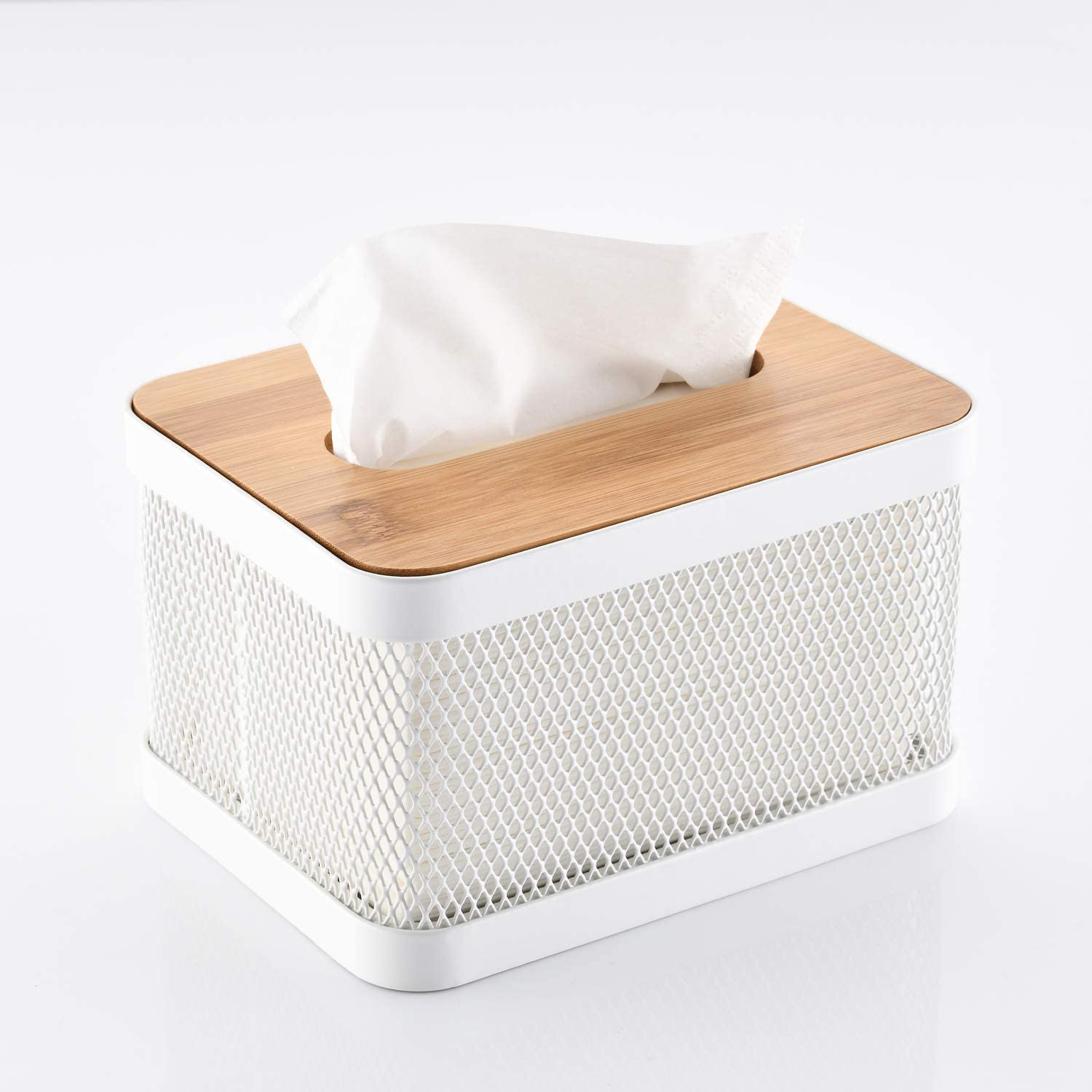 HILFA Modern Square Metal Paper Facial Tissue Box Cover Holder for Bathroom Vanity Countertops, Bedroom Dressers, Night Stands, Desks and Tables,1814 (White)