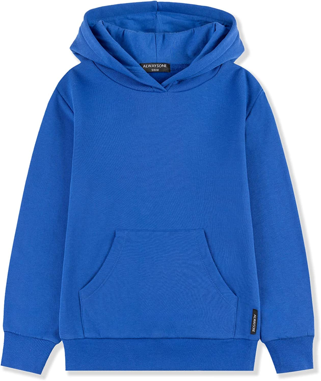 ALWAYSONE Kids Soft Brushed Fleece Hooded Sweatshirt Casual Sweater Jacket Athletic Pullover Hoodie for Boys Girls 3-12 Years