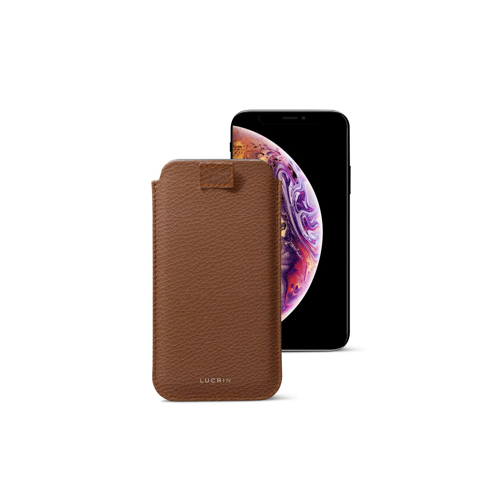 Lucrin - Pull Tab Slim Sleeve Case Compatible with iPhone XS/iPhone X and Wireless Charging - Tan - Granulated Leather