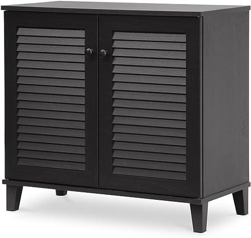 Baxton Studio Coolidge Shoe-Storage Cabinet, Espresso