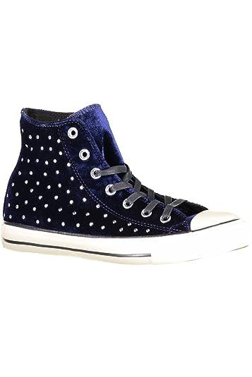 f495bf17e86b Converse Womens Velvet High Top Skateboarding Shoes Navy 7.5 Medium (B