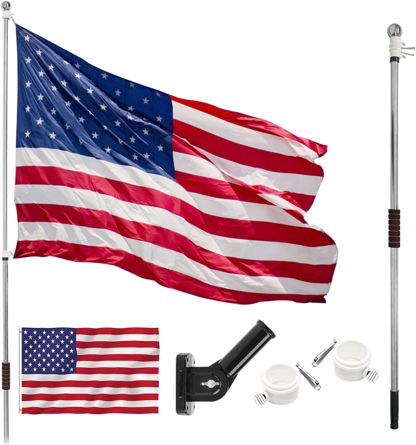 PUJIANG 6.5 FT Flag Pole Kit, Stainless Steel Spinning Flag Pole with 3x5 American Flag, Flag Pole Bracket and Tangle Free Wall Mount Flag Pole for Outdoor Garden Roof Walls Yard Truck (Silver)