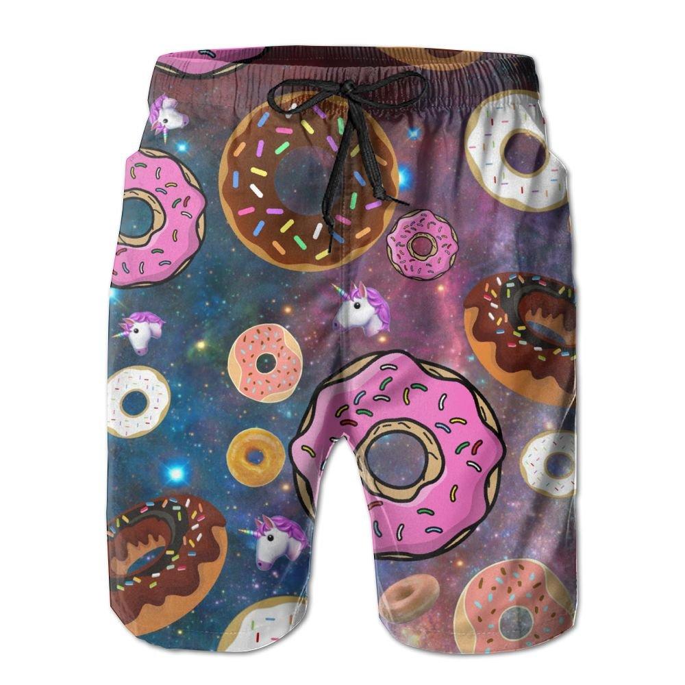 Unicorn And Donut Men's Swim Trunks Quick Dry Board Beach Shorts Home Wear