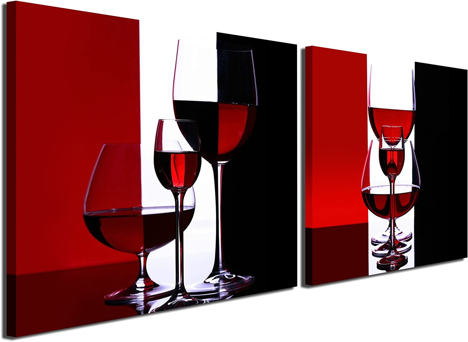 Amazon Com Gardenia Art Wine Canvas Paintings Wall Art Pictures Abstract Wine Glass In Red Black White For Kitchen Bedroom Living Rommg Decoration 12x12 Inch Per Piece 2 Pieces Per Set Posters