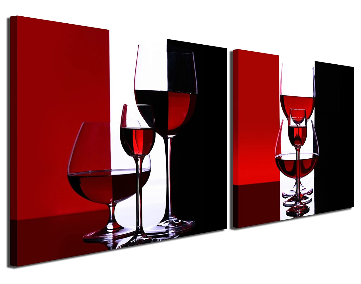 Gardenia Art - Wine Canvas Paintings Wall Art Pictures Abstract Wine Glass in Red Black White for Kitchen Bedroom Living Rommg Decoration, 12x12 inch per Piece, 2 Pieces per Set
