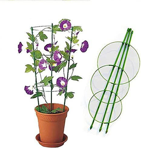 IsMoon 60 cm Vine Mesh Support Flowers Plants Cage Triple Plastic Column with Iron Rings Vine Plant Stand Pot Small Grid for Home Garden Balcony