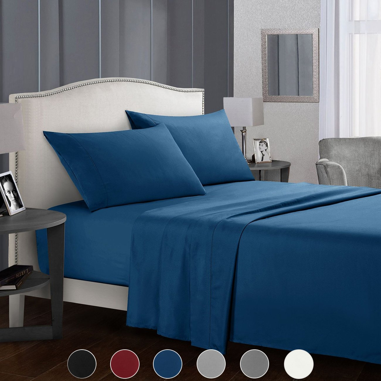 TIANSHU Bed Sheet Set - Brushed Microfiber 1800 Bedding - Wrinkle, Fade, Stain Resistant - Hypoallergenic - 4 Piece (Full, Navy Blue)
