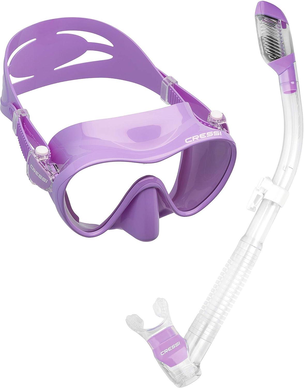 Cressi, set di maschera con tubo per immersioni, snorkeling e freediving, Blue USC281020