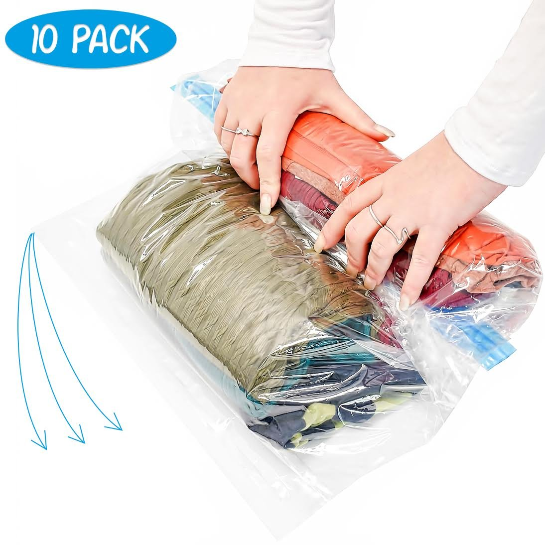 10 Large Rolling Compression Bags for Saving Space When Packing & Storing Clothes. No Need for Pump just Roll & Save 80% Luggage Space. for Flights, Travels, Camping. Double Zipper. 100% Waterproof Vacuum Storage Bags Space Saving Travel Bags