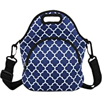 Neoprene Lunch Bag Tote Waterproof Foldable with Detachable Strap and Extra Pocket for Women School Office Picnic