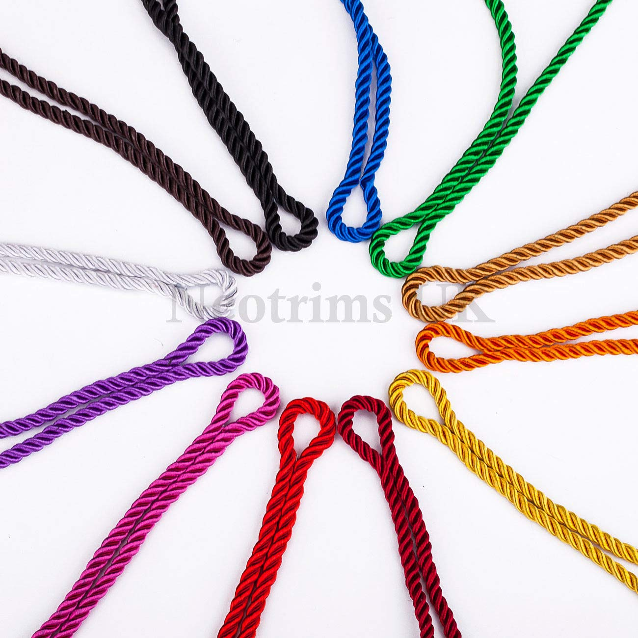 Neotrim 6mm Barley Twist Rope Cord Trimming Prominent 3 Ply Twist Look Home D/écor with 36 Stunning High Sheen Viscose For Piping or Edging Braided
