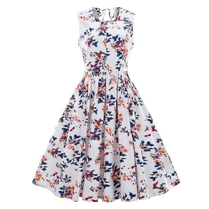 iBaste Vintage Vestidos Mujer Fiesta Talla Grande Estampado Floral Vestido Audrey Hepburn Cuello-cuadrado 50s
