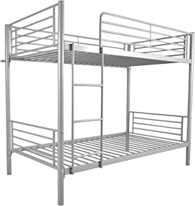 YB&GQ Modern Metal Bed with Ladder and Guardrail,Twin Bunk Kids Bed Bedroom Storage Guard Rail Ladder,Twin Size Low Bunk Bed
