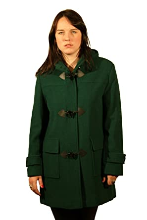 TEAL GREEN WOOL WOMENS DUFFLE COAT WITH HOOD (18): Amazon.co.uk ...