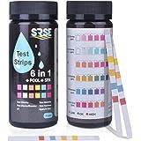 Sunis 50pcs Medidor de pH 6 en 1 Agua de Piscina Test Spa de Tiras de Prueba de Test Básicos Medición Tiras para Dureza…