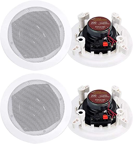 4 New PYLE PRO PDIC61RD 6.5 White 400W 2-Way In-Ceiling Wall Speakers System