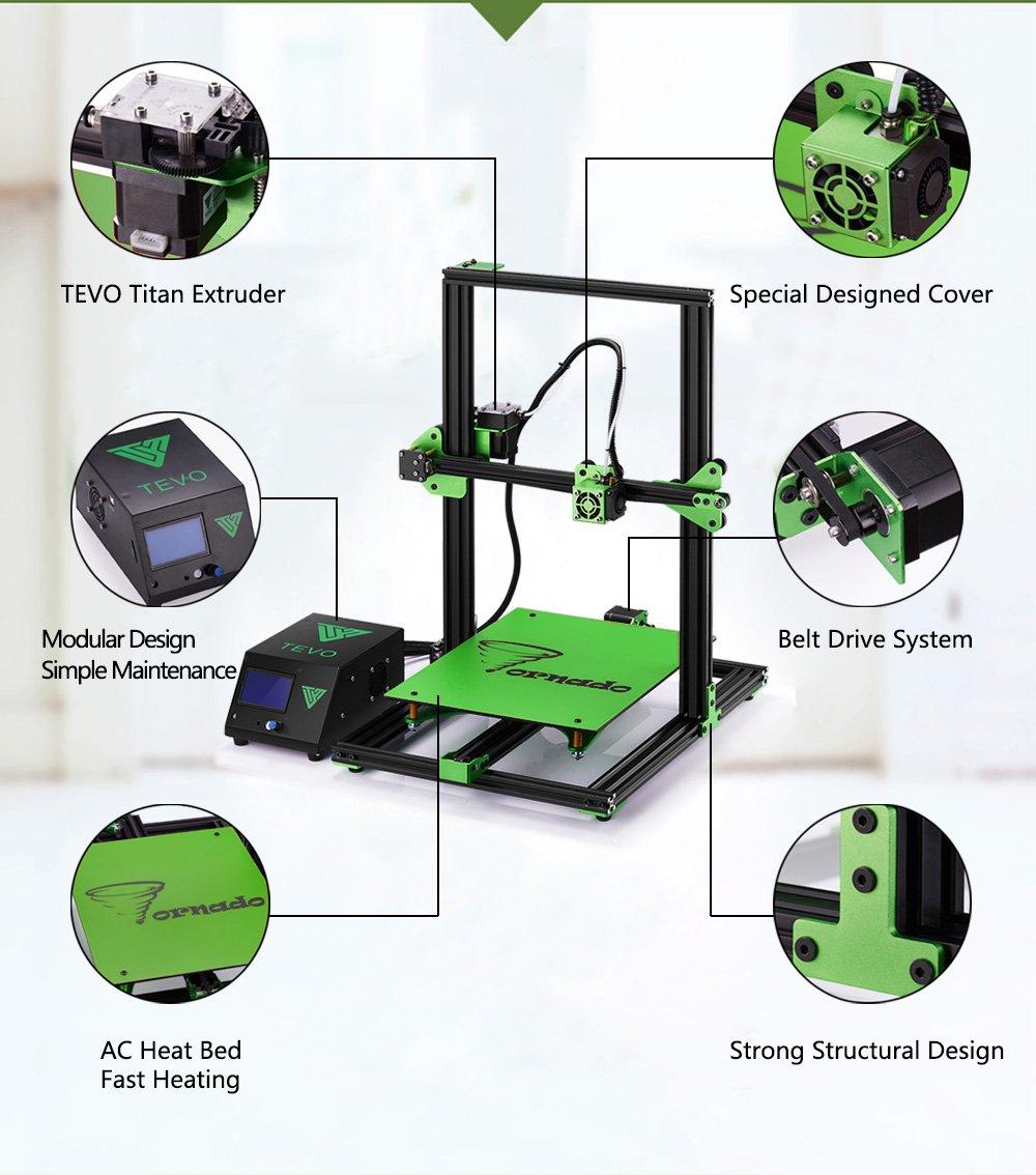 TEVO Tornado DIY 3D Printer Kit 300300400mm Large Printing Size 1 75mm  0 4mm Nozzle Support Off-line Print