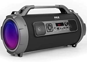 "Wireless Portable Bluetooth Boombox Speaker - 500W Rechargeable Boom Box Speaker Portable Barrel Loud Stereo System with AUX Input, USB/SD, 1/4"" in, Fm Radio, 4"" Subwoofer, DJ Lights - Pyle PBMKRG155"