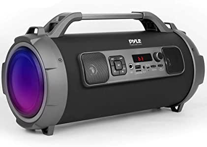 """Wireless Portable Bluetooth Boombox Speaker - 500W Rechargeable Boom Box Speaker Portable Barrel Loud Stereo System with AUX Input, USB/SD, 1/4"""" in, Fm Radio, 4"""" Subwoofer, DJ Lights - Pyle PBMKRG155"""