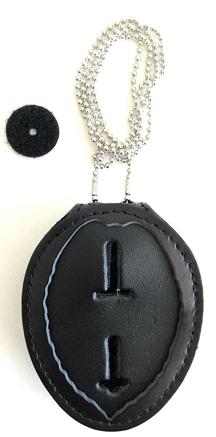 Universal NOT Recessed Black Badge Holder Case Clip /& Chain Inc. Leather