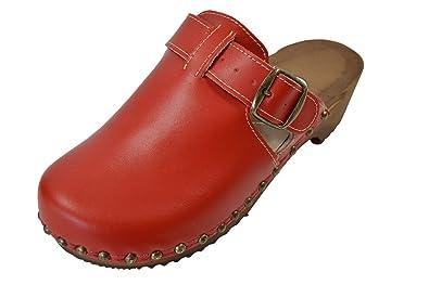 Buxa Damen Holz und Leder Clogs mit Spezial-Schnalle, Rot, Größe 41