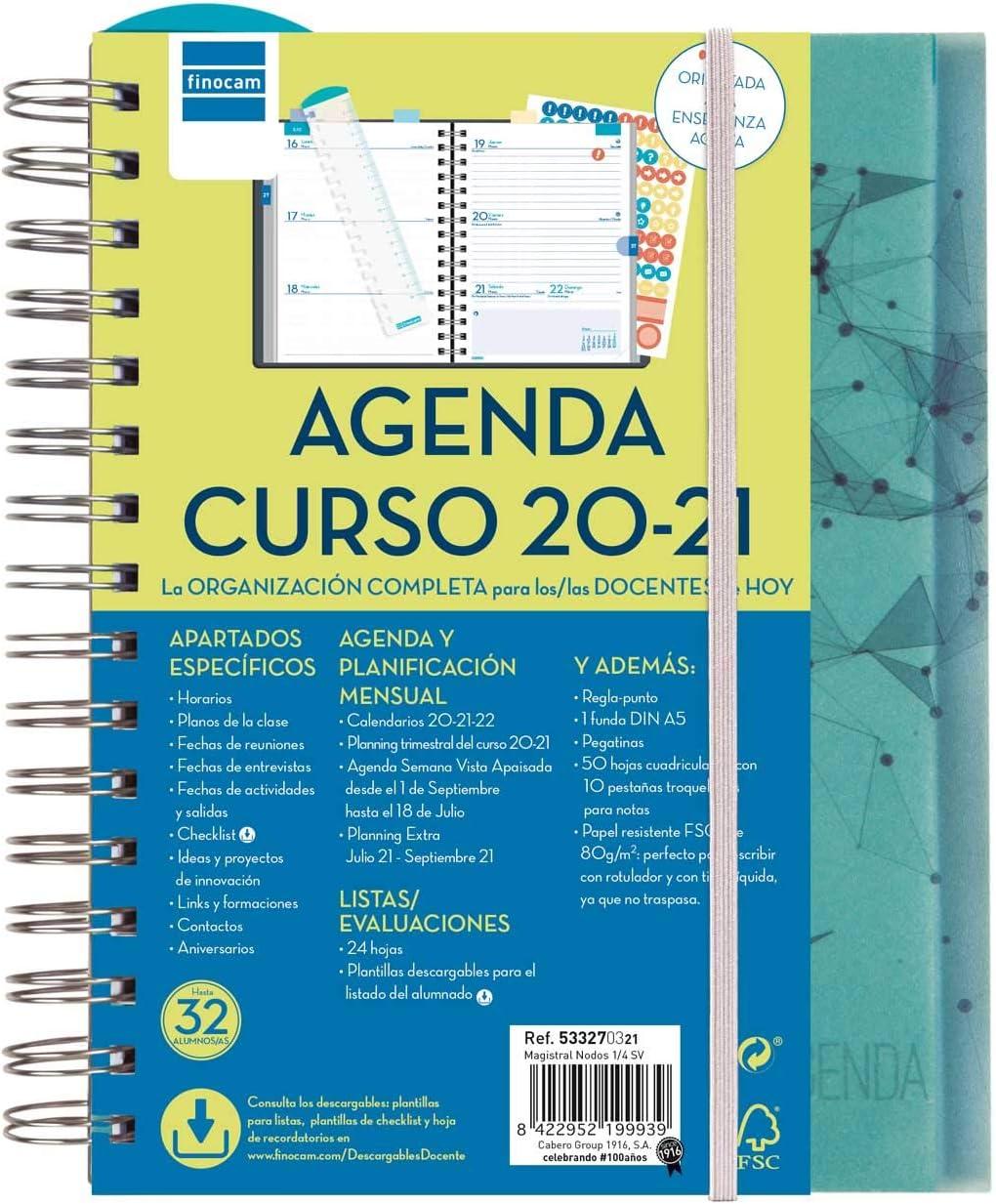 Finocam - Agenda Docente 2020-2021 Cuarto - 155x212 Semana Vista Apaisada Magistral Nodos Español