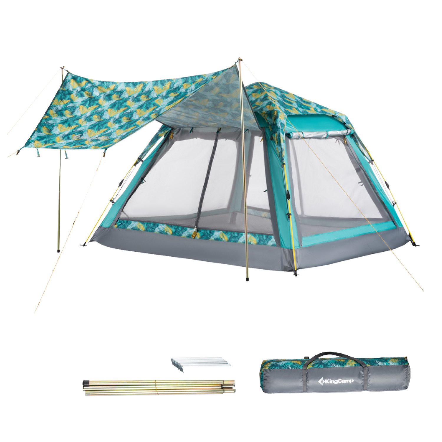 KingCamp Quick Up 3-4 Person Screen House Leisure Beach Tent UPF 50+ with Canopy for Beach Camping (Palm Green)