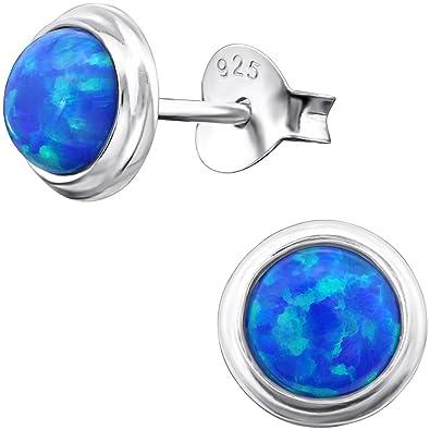 26389e3875e2 EYS JEWELRY klassische Damen-Ohrstecker 925 Sterling Silber synthetischer  Opal 6 mm blau runde Ohrringe im Geschenk-Etui  Amazon.de  Schmuck