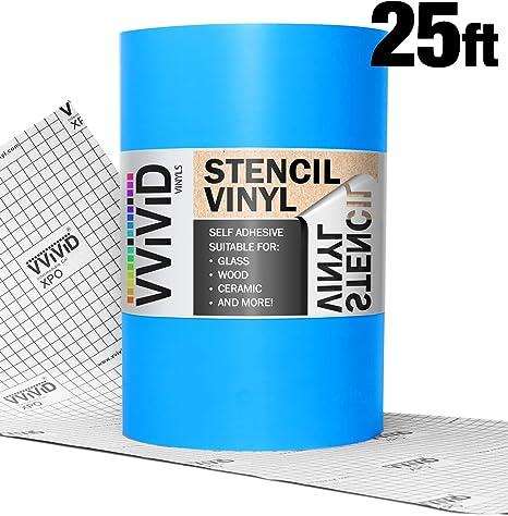 VViViD Blue Low-Tack Adhesive Vinyl Stencil Masking Film Roll 12 x 10ft