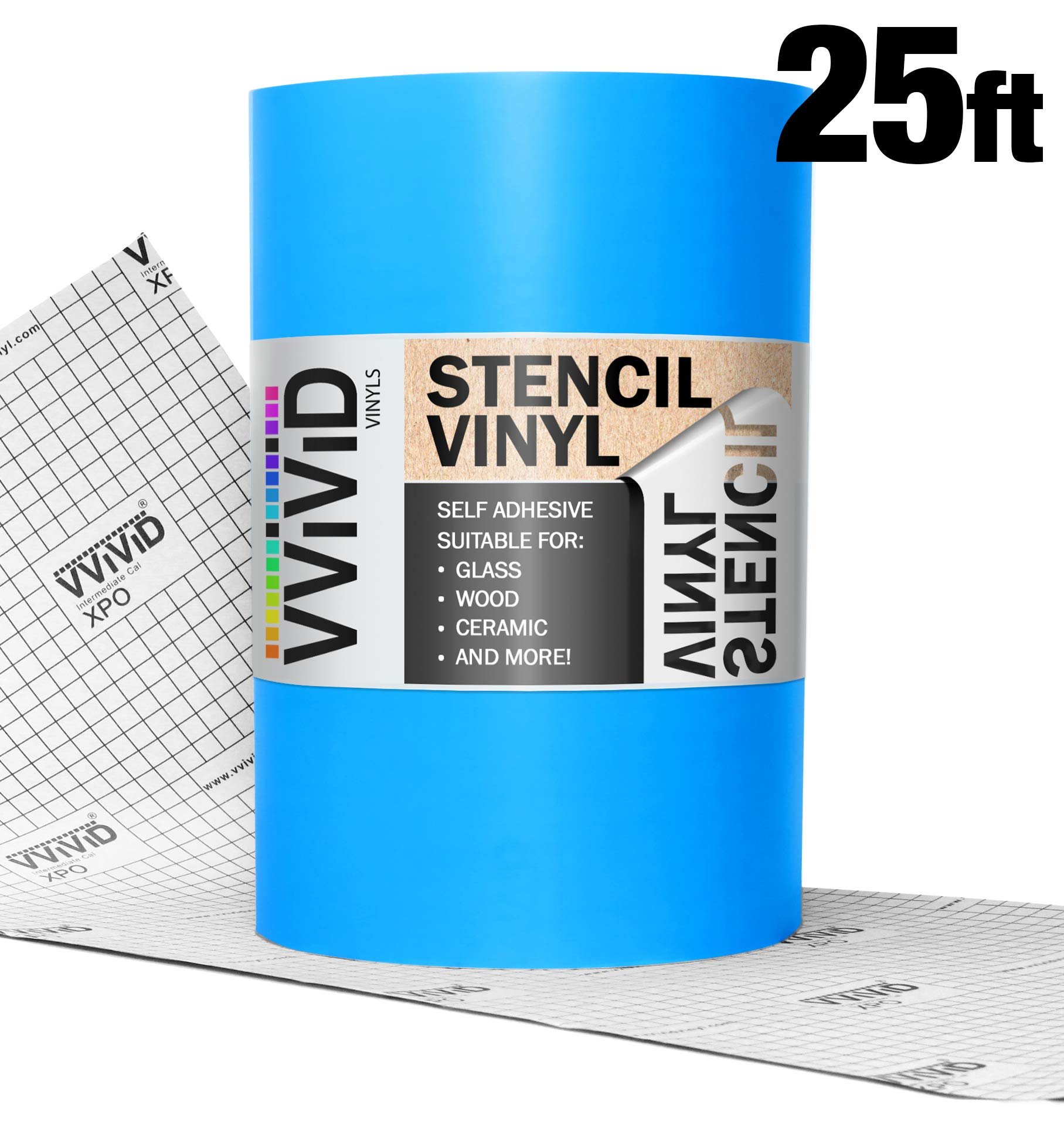 VViViD Blue Low-Tack Adhesive Vinyl Stencil Masking Film Roll (12'' x 25ft)