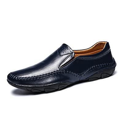 CLIDOU Men Casual Leather Fashion Slip-On Loafers Walking Driving Shoes 3 Color