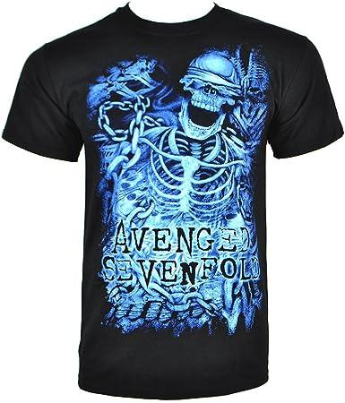 Camiseta gótica de Avenged Sevenfold Chained Skeleton (negro ...