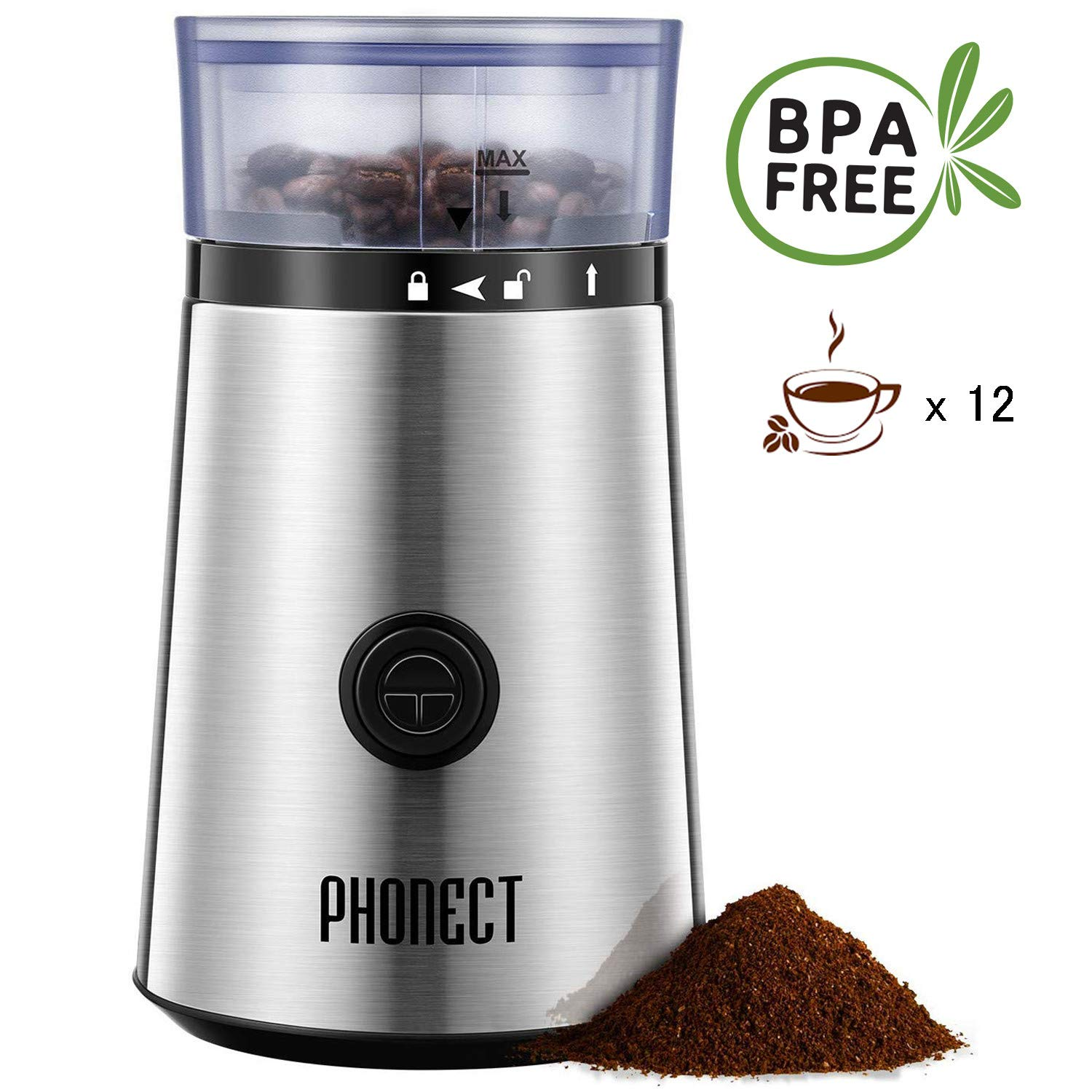 Coffee Grinder Electric, 150W Blade Spice Grinder, Portable Stainless Steel Grinder, Removable Easy Clean Bowl Grinder also for Seeds Grains Nuts, 12 Cups by PHONECT