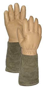 Deluxe Rose Pro's Leather Gauntlet Gardening Gloves, Tan/Green, Small