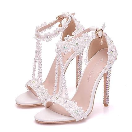b4d543fe566 Amazon.com: CJJC Fashion Women's Wedding Shoes,White Bead Strings ...