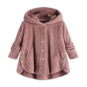 Yvelands Top Mujeres Botón Abrigo Mullido Cola Tops con Capucha Pullover Suéter Suéter Blusa: Amazon.es: Ropa y accesorios